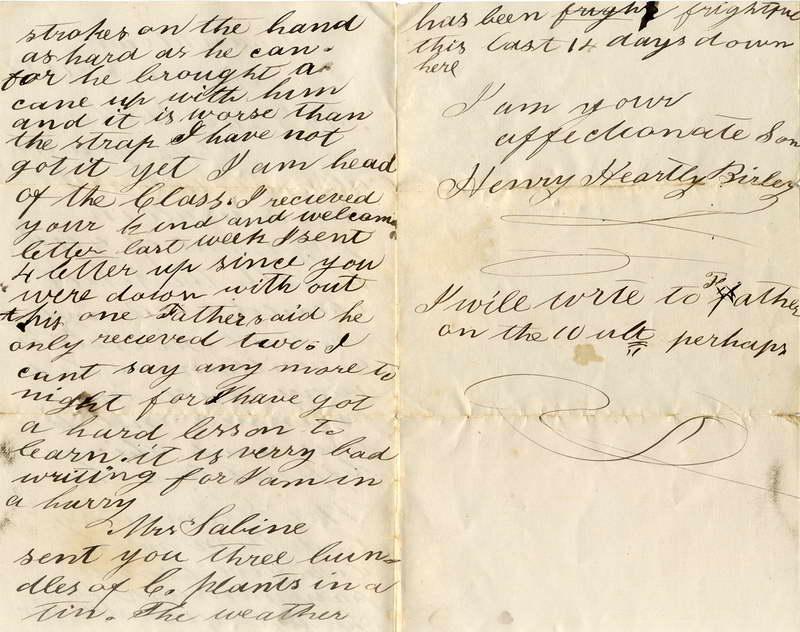 1877 Henry Birley letter (2), P2, Lower Shotover School, Sabine