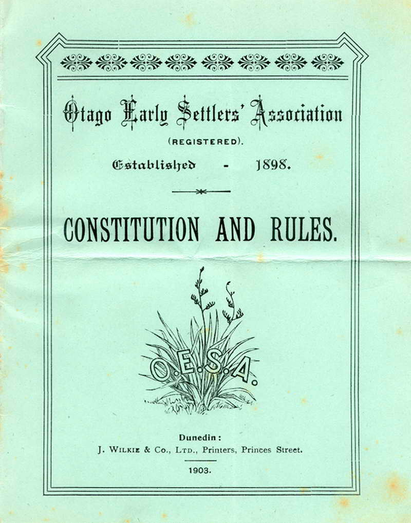 Early Settlers Association Constitution