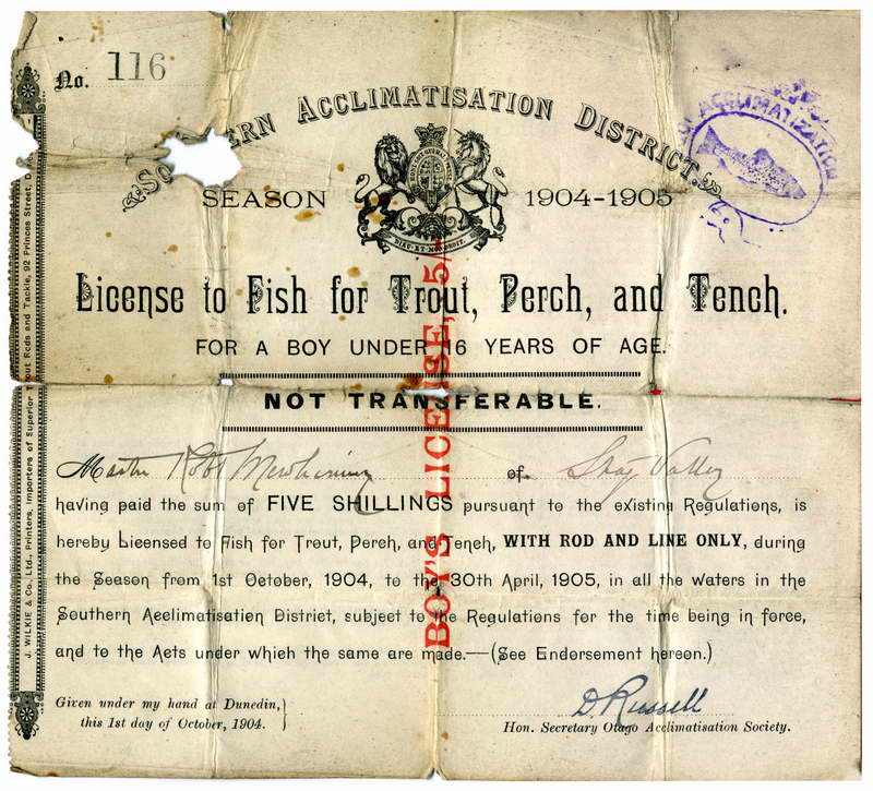 Southern Acclimatisation District Fishing License - 1904-05