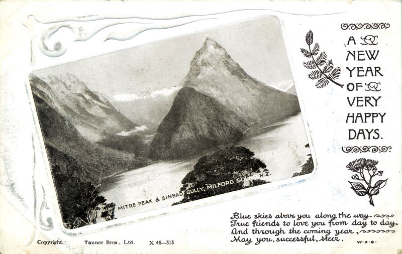 Mitre Peak, New Year Greeting Card